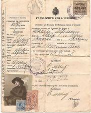 04) BOLOGNA PASSAPORTO PER L'INTERNO 1918 MARCHE DA BOLLO SEGRETERIA