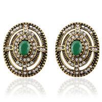 Luxury Vintage Style Antique Gold & Dark Green Stone Oval Stud Earrings E1110