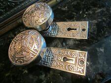 New listing Antique Door Hardware: Solid Bronze Matching Door Knobs & Back Plates 1885