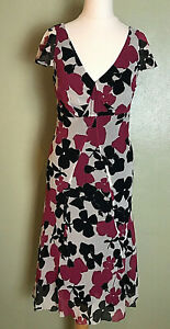 Hobbs Black Multi Fit & Flare Silk Party Wedding Guest Races Midi Dress Size 8