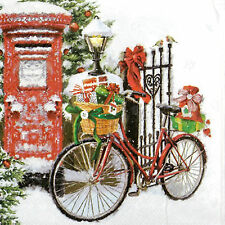 4x Paper Napkins -Bike in Snow- for Party, Decoupage