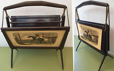 PORTE-REVUES A SYSTEME PLIANT BOIS 2 CASES  DECOR COURSES CHEVAUX DESIGN 1930/50