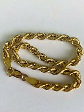 LOVELY 9CT YELLOW GOLD ROPE LINK BRACELET - 7.5 INCHES