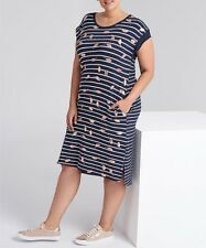 Plus Size Navy Blue Floral & Stripe T-Shirt  Viscose Dress Size 22 Free Post