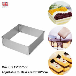 Cake Ring Mold Square Mousse Mould Stainless Steel Baking Tool Adjustable DIY