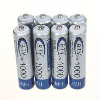 8 X BTY Ni-MH AAA 1000mAh 1.2V Rechargeable Battery for MP3 RC Toys