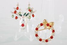 Deer & Wreath Fashion 4624B Set Of 2 Christmas Brooches