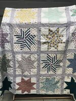Antique Handmade  Star Feed Sack Quilt Well quilted by hand 84x83