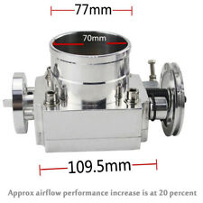 Aluminum 70MM High Flow Intake Manifold Billet Throttle Body Silver Modification