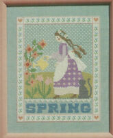 Spring Counted Cross Stitch Pattern Leaflet Girl with cat Cross-Eyed Cricket