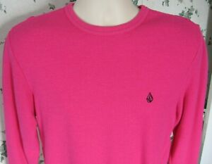 Volcom Boy's Youth Medium Pullover Shirt Pink Rogan Thermal