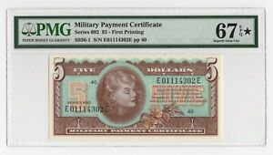 $5 Series 692 Military Payment Certificate First Printing PMG 67 EPQ* Superb Gem
