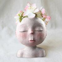 Nordic Style Creative Ceramic Human Head Vase Art Flower Arrangement Doll Sculpt