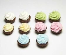 10 Mixed Dollhouse Miniature Cream Cupcakes * Doll Mini Food Cake Bakery