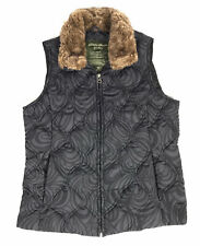 Eddie Bauer Goose Down Women's Puffer Vest Faux Fur Collar Size Small No Hood