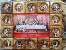 Olive Hand made Jesus  last supper, 14 stations of the cross olive wood plaque