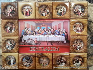 Olive wood Last Supper Handmade Jesus 14 stations of the cross plaque