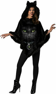 Black Cat Hooded Poncho Adult Womens Costume Accessory NEW IC