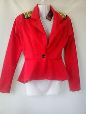 BELLA nuova Miss Blush Rosso peplo donna borchie Blazer Taglia 8 (0.4