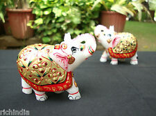 """Gift Elephant Pair marble art gift home Decor India statue Royal size-2"""""""