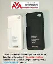 Custodia -Cover-Caricabatteria 1900mA (1500mAh effettivi) per Iphone 4-4S+Garanz