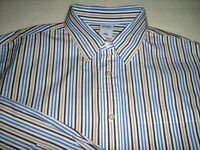 Old Navy NWOT Mens Large Blue Brown White Striped Long Sleeve Button Down Shirt