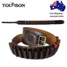 Tourbon Shotgun Cartridge Holder Ammo Carrier Belt Hunting Dark Brown Leather AU