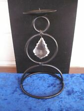"""Black Metal Candle Holder with Dangling, Carved Glass """"Crystal"""" Teardrop"""