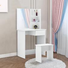 More details for modern dressing table corner vanity set makeup desk w/ drawer mirror & shelves