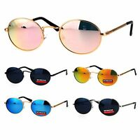 Mens 90s Gangster Rapper Mirror Lens Oval Retro Metal Rim Sunglasses