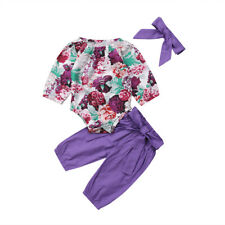 3pcs Newborn Baby Girls Floral Clothes Jumpsuit Romper Bodysuit Pants Outfit Set