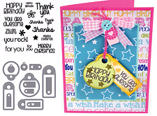Sizzix Framelits Dies Set with Stamps - Tags & Words, Happy Birthday, Christmas