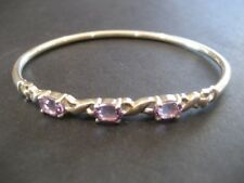 Solid 925 Sterling Silver & 3-Stone Amethyst Bracelet Bangle