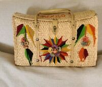 Woven Straw Wicker Large Beach Tote Market Bag Raffia Floral Mexico Vintage