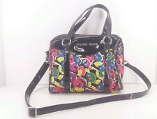 Armani Jeans Multi-colored Floral,  Black Patent Trim Handbag with Removable...