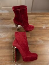 $1295 CHRISTIAN LOUBOUTIN Taclou Booty red suede boots - 9 US / 6 UK / 39 EU
