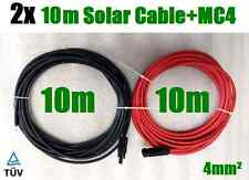 2 x 10m Solar Cable Wire ext. MC4 Connector PV Panel to regulator 4mm² Cable