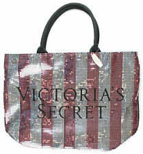 Victoria's Secret Hot Pink Striped Shiny Sequence Large Tote Bag NWT Glamour