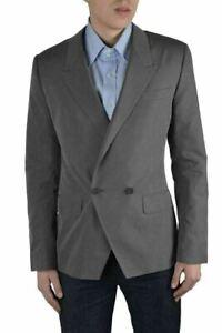 Dolce & Gabbana Men's Gray Double Breasted Silk Blazer Size US 38 IT 48