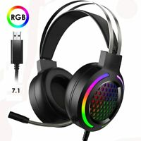 USB Gaming Headset MIC Headphones 7.1 Surround Sound RGB Backlit for PC PS4 Xbox