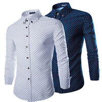 New Men's Luxury Casual Slim Fit Stylish Dress Shirts Long Sleeves Polka Dot