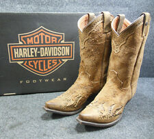 New Harley Jessa Ladies Brown Mid Pointed Leather Boots Size 9 D83653 #C162