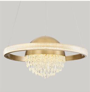 Modern LED pendant light luxury restaurant bedroom crystal copper chandelier yc