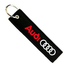 AUDI CAR RED WHITE LOGO Embroidered Stitched Metal Keyring Keychain Automobile