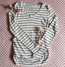 Isabel Maternity Long Sleeve Stripped V-neck Blouse Size S