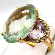 Stunning 18k Rose Gold 15.67tcw Prasiolite Purple Amethyst Diamond Ring 9.2g