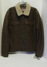"""NWT """"Levi's"""" Jacket Brown Faux-Leather Quilt Lined Zip&Snap Sherpa Collar Large"""