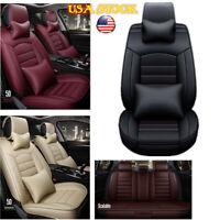 Car Seat Cover Full Set Cushion PU Leather 5 Seats Protector Auto SUV Truck