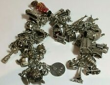 HEAVY VINTAGE SOLID SILVER CHARM BRACELET, 43.CHARMS, 104.26,GRAMS,