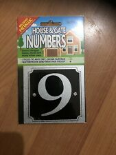 "SIGN SHACK - HOUSE & GATE NUMBERS - ""9""- SILVER - STICKER      *NEW AND SEALED*"